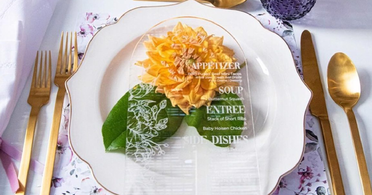 plate setting on table with menu