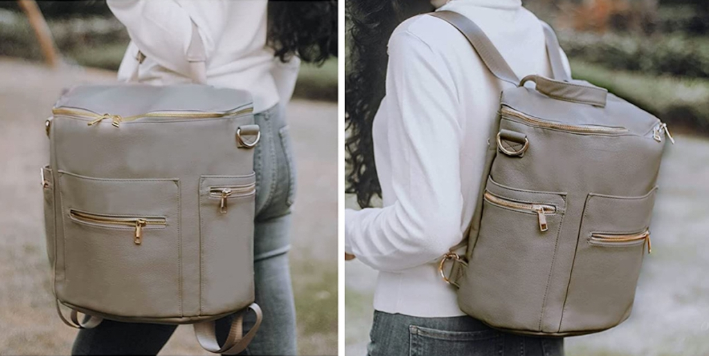 woman showing different ways to use leather bookbag diaper bag