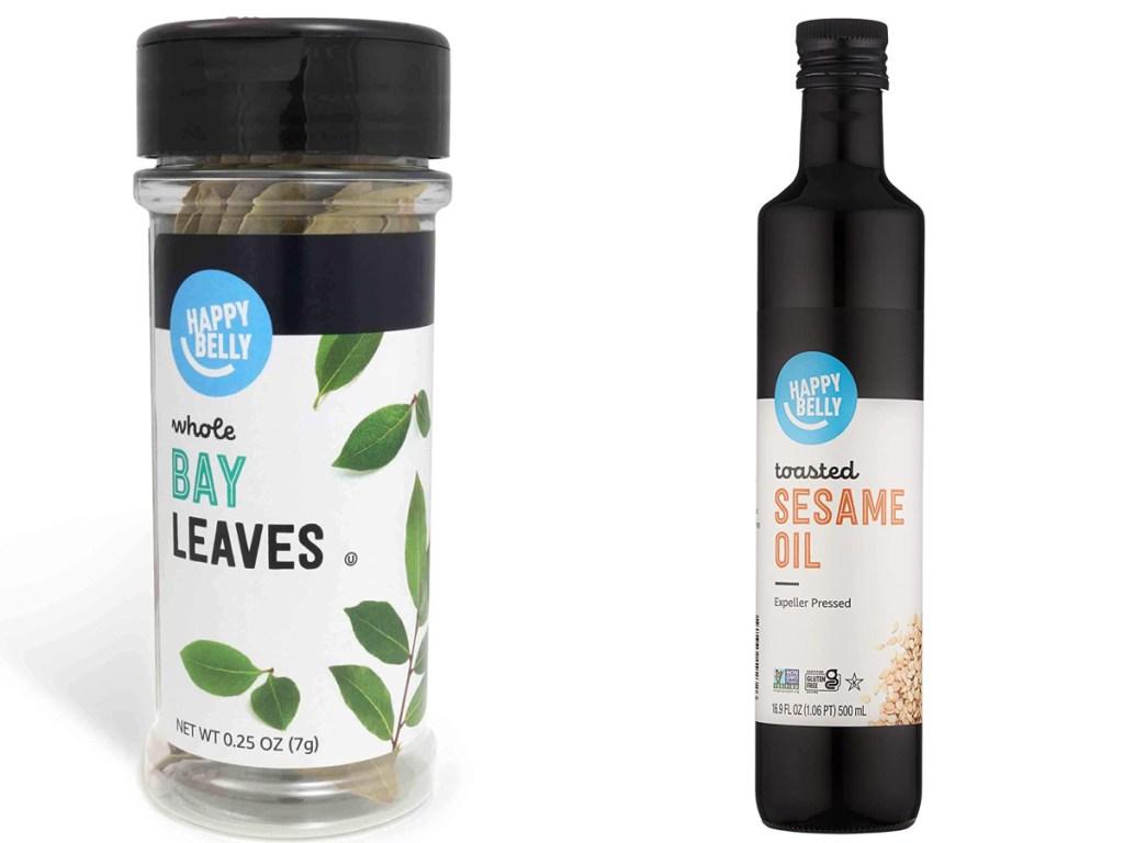 Bay leaves and sesame oil