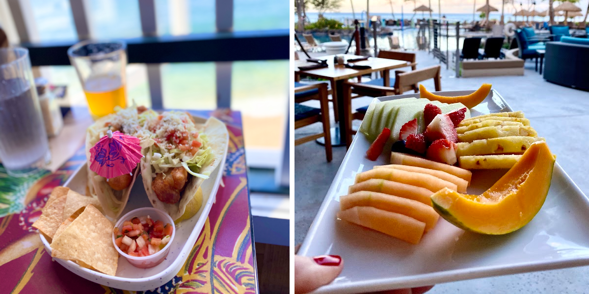 fruit and taco plates in restaurant in hawaii scoring hawaii vacation deals