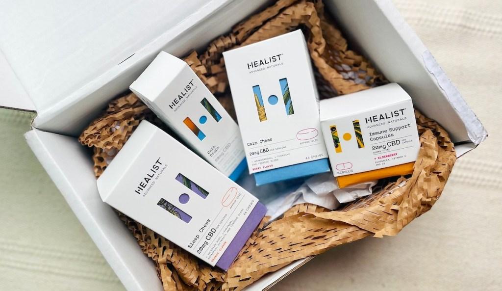 box full of healist wellness products in box