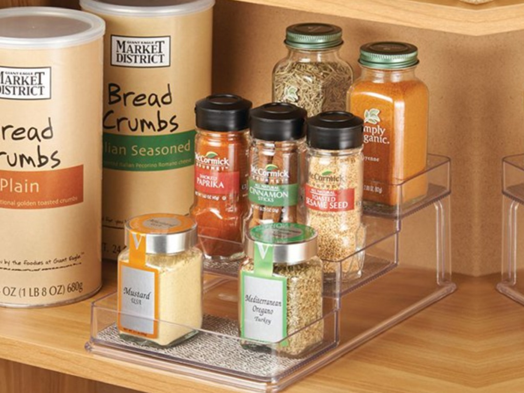 clear plastic storage rack for spices