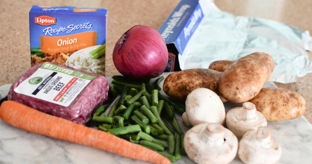 ingredients for ground beef and veggie foil packet dinner