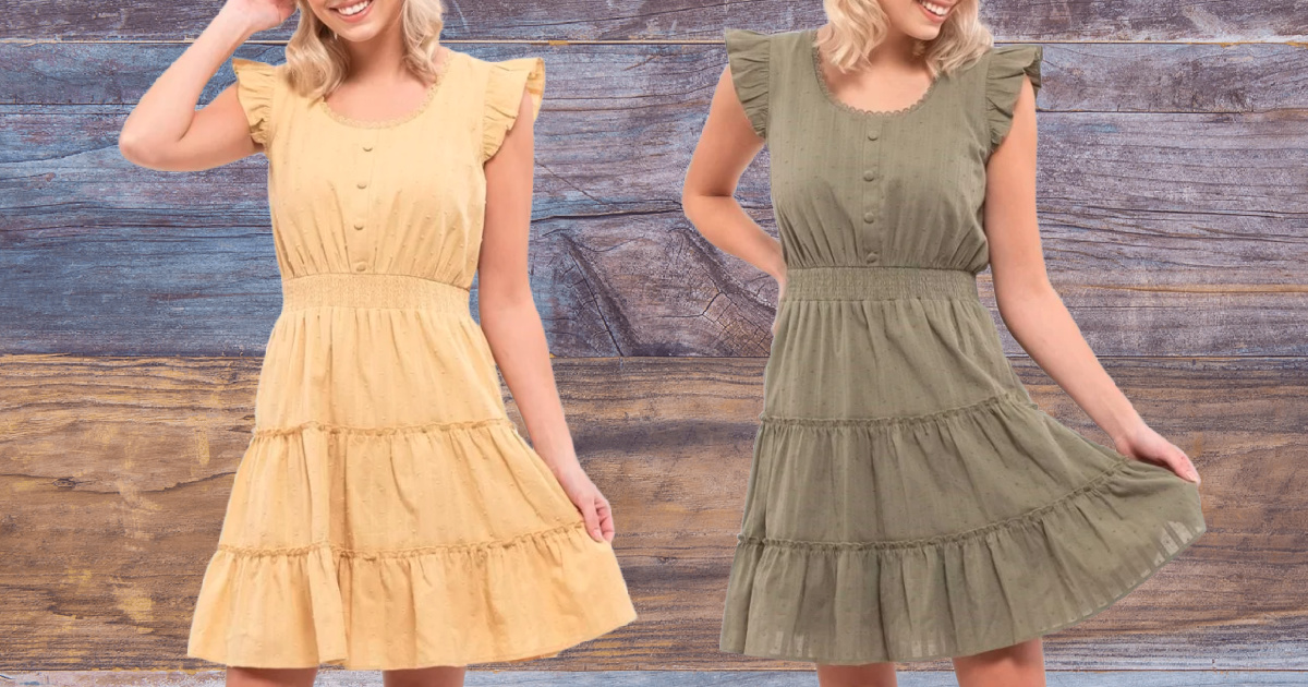 women wearing mustard and olive colored 3 tiered dress