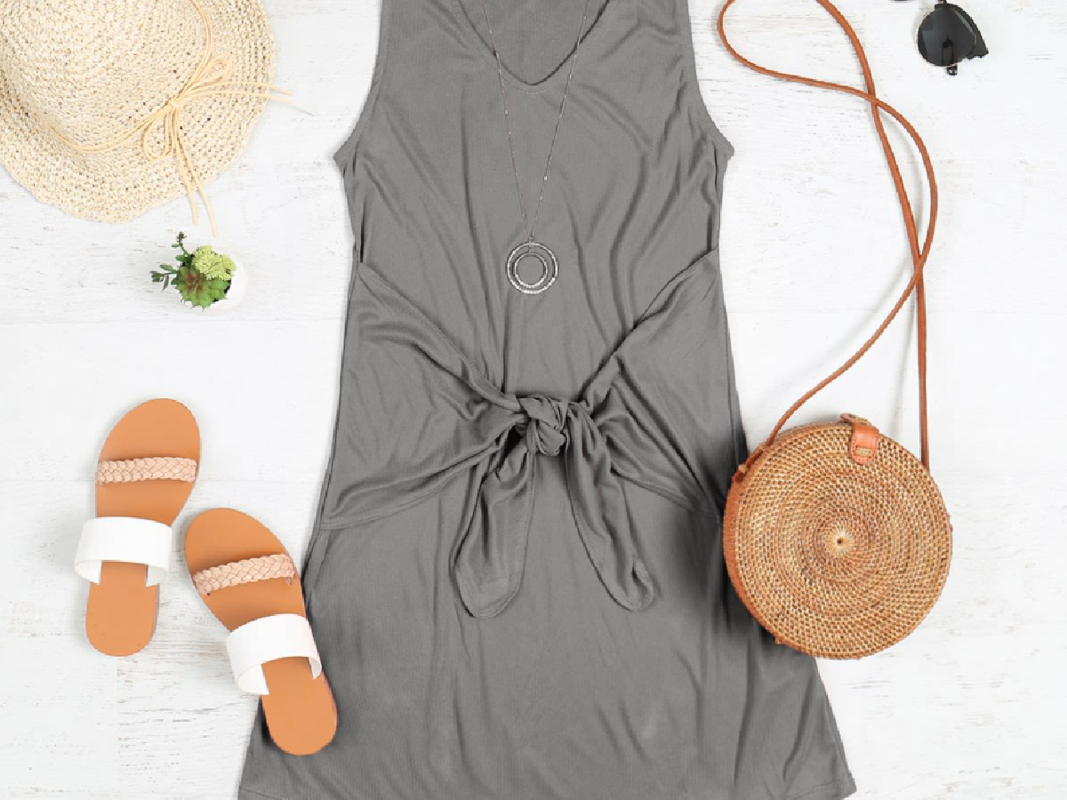 gray sleeveless dress with front knot