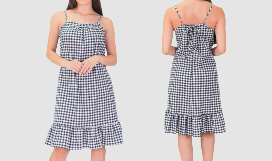 front and back side of black and white checked dress