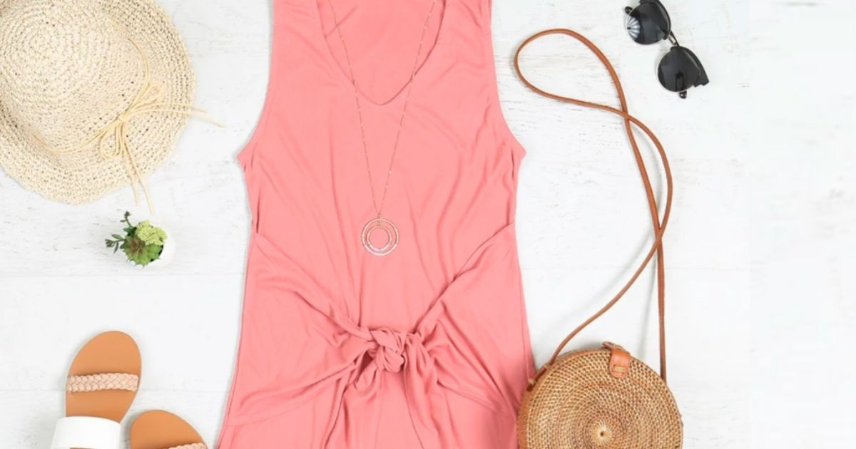 salmon colored sleeveless dress with front knot