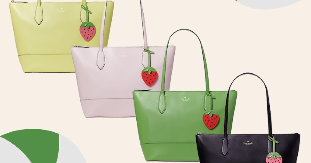 four colored totes with strawberry key holders on them