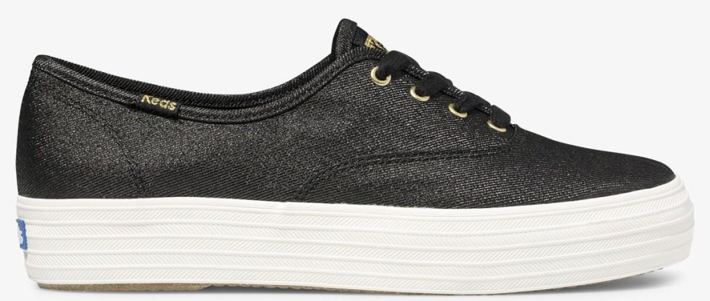 black metallic keds shoes