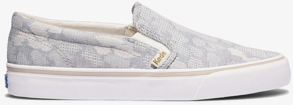 pale blue leopard slip on keds shoes