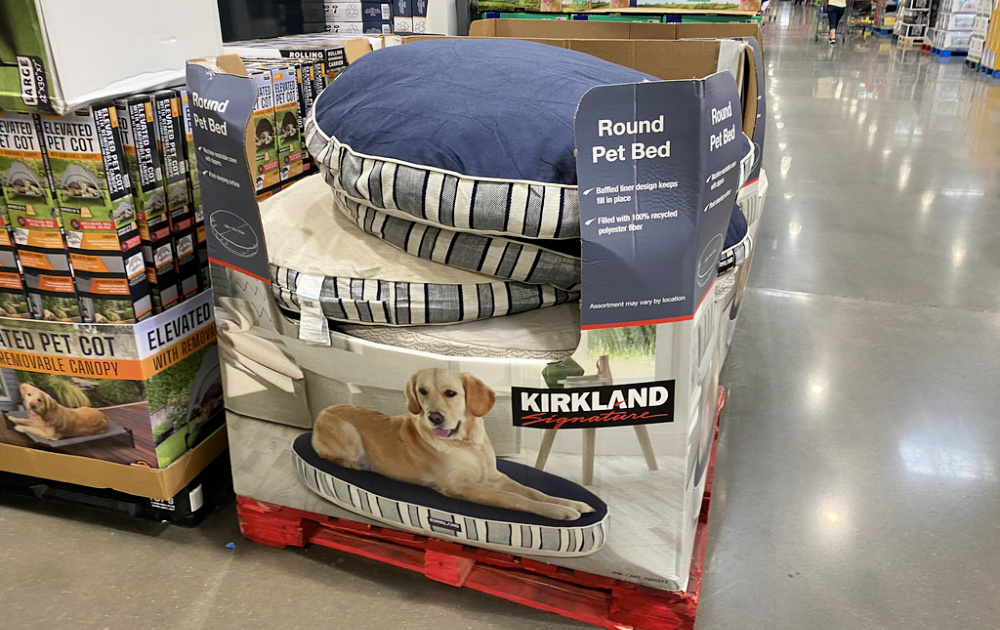round dog beds on display at costco