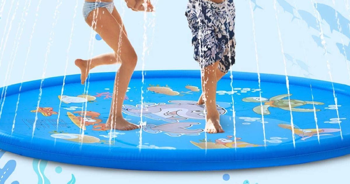 kids playing on a large splash pad