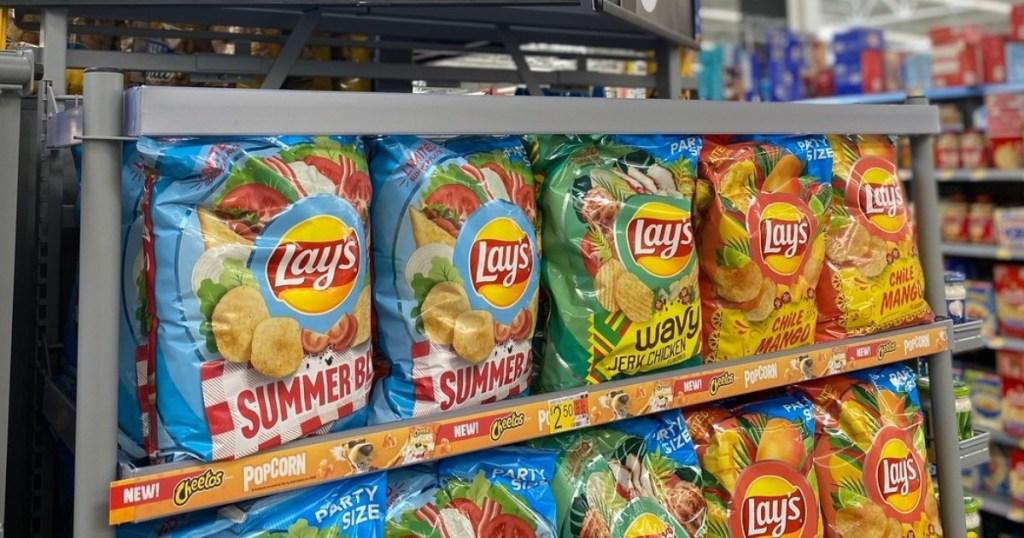 Lay's otato chips on shelf at Walmart