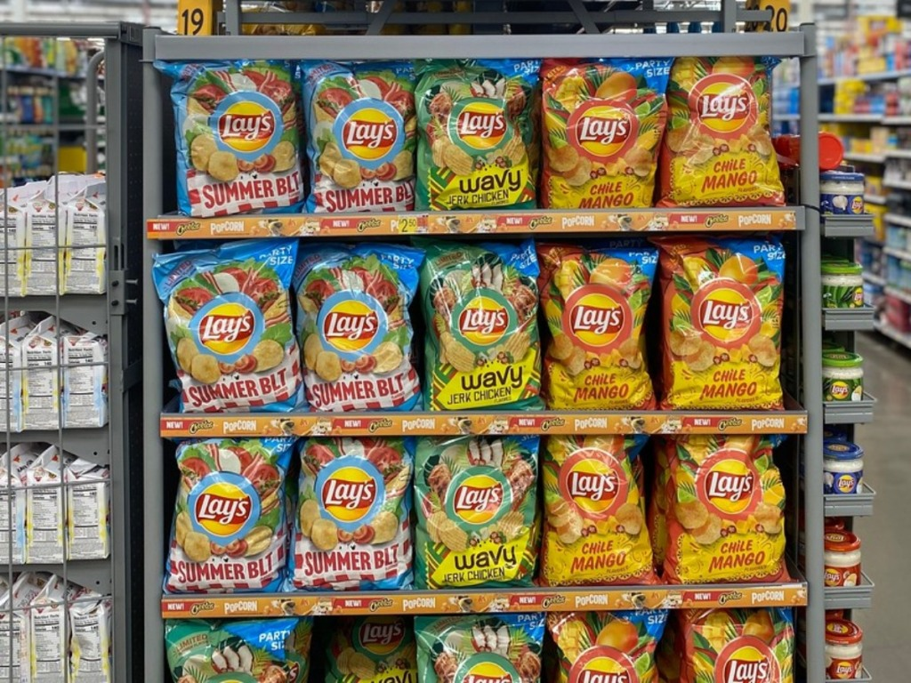 Walmart endcap stocked with Lay's potato chips