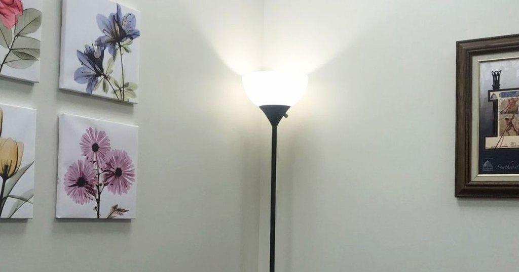 floor lamp in corner of room