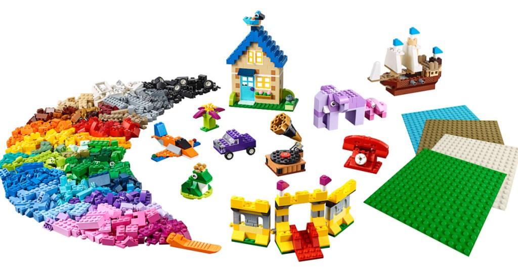 colorful lego pieces