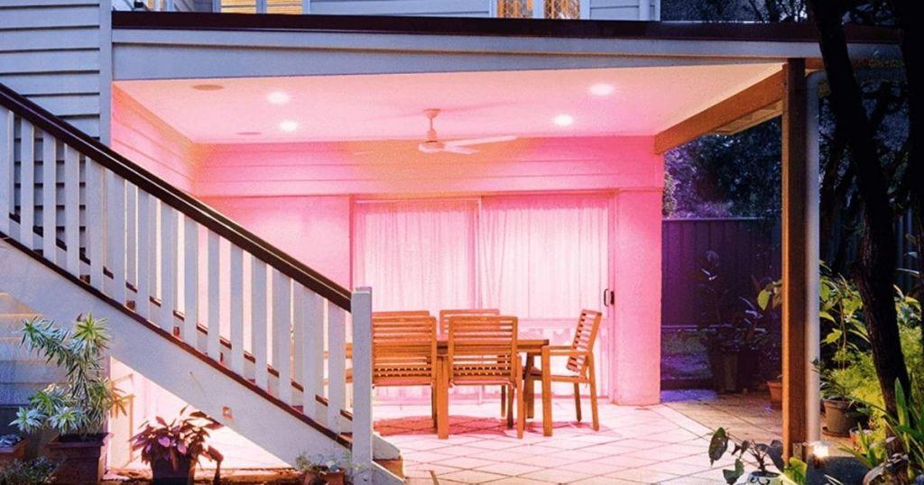 pink light bulbs on porch