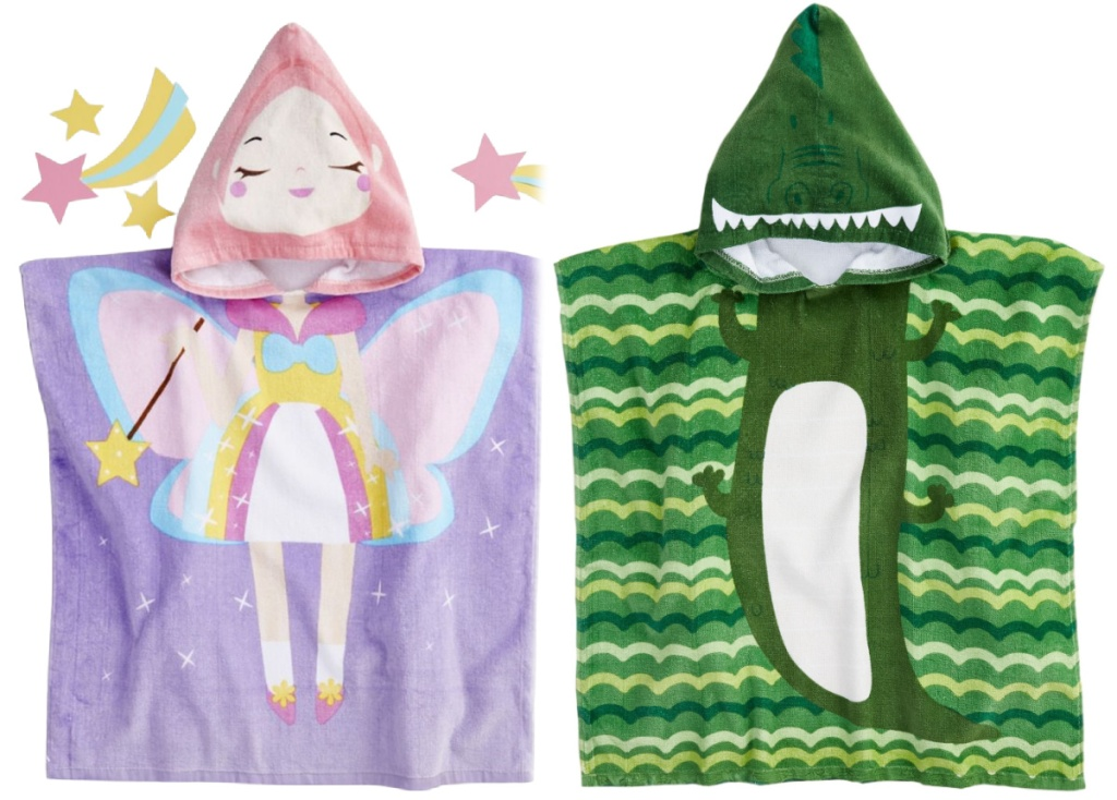 unicorn and reptile hooded beach towels