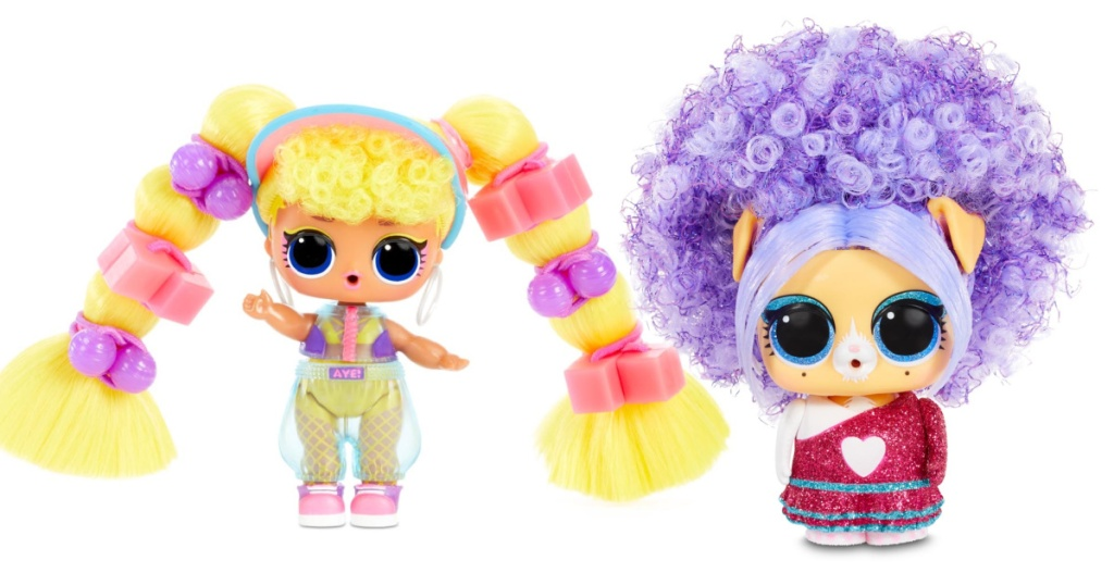 stock images of two small lol surprise music doll and pets toys