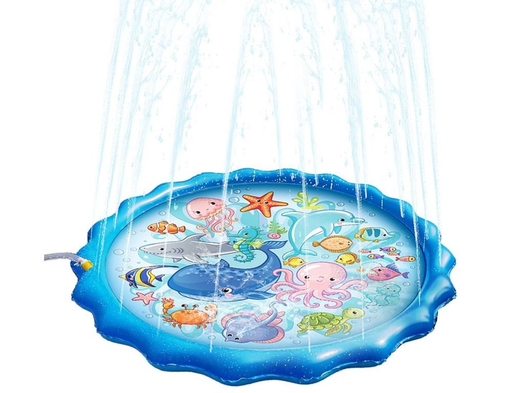 Blue & Rainbow 60'' Sea Creatures Sprinkler Mat