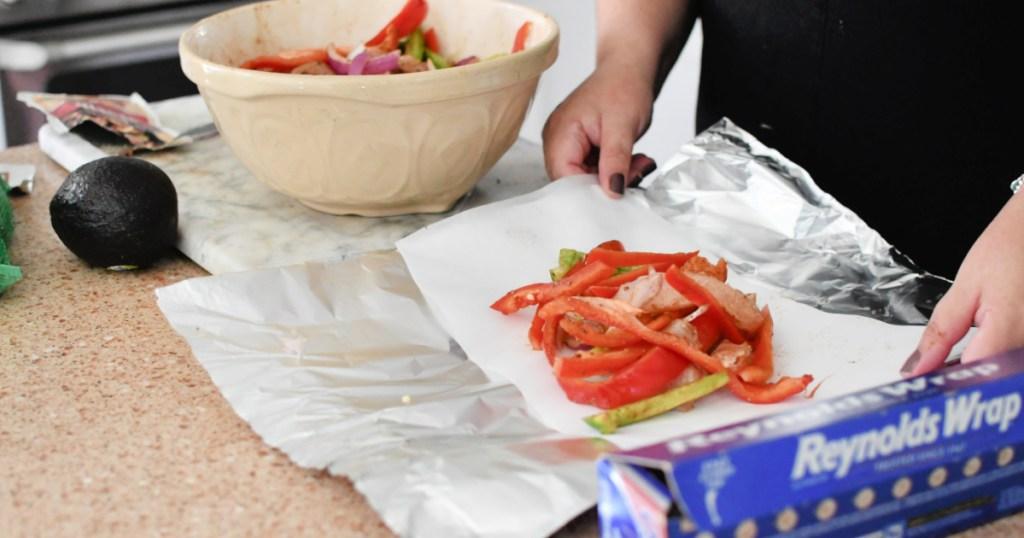 making fajitas foil packet meal