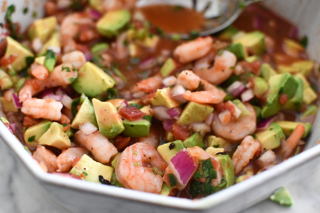 mexican shrimp cocktail in bowl