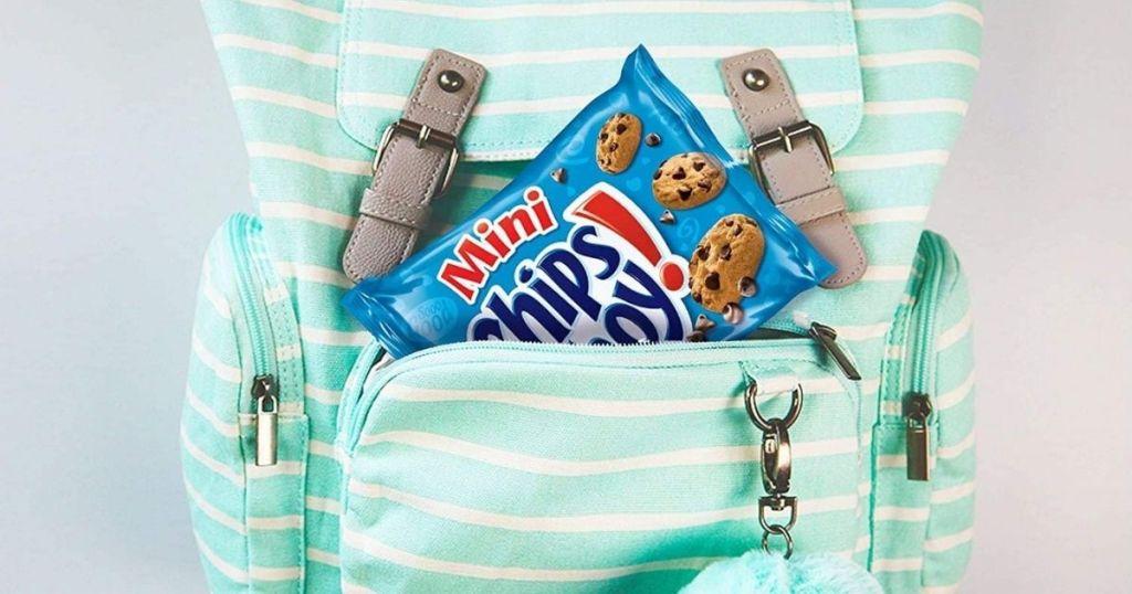 mini chips ahoy bag in backpack