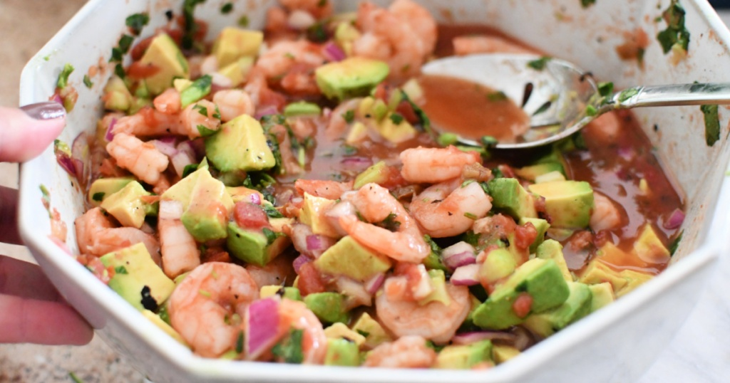 mixing bowl with mexican shrimp cocktail