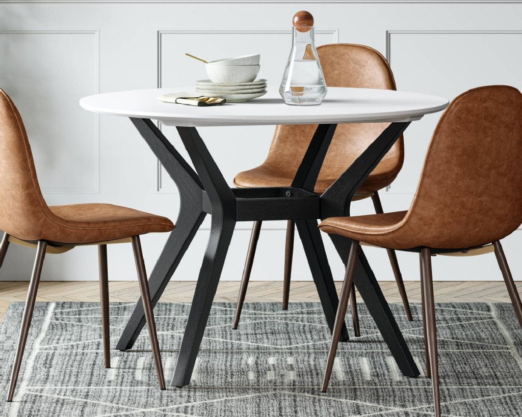 white and black modern round dining table