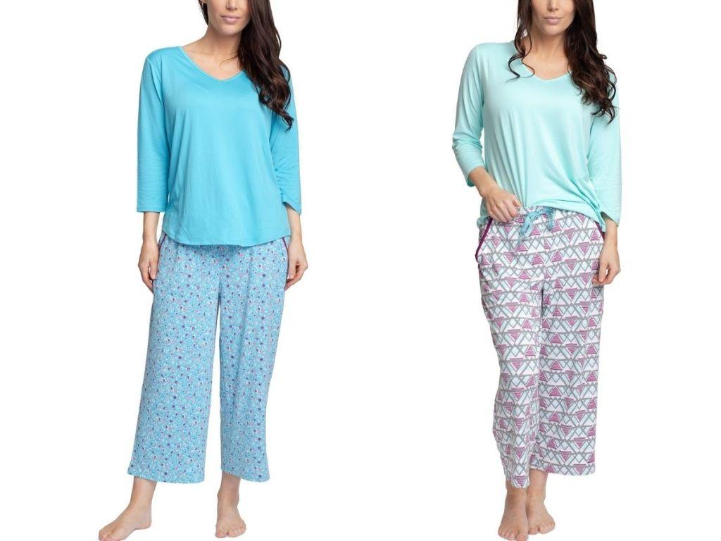 two women wearing pajama sets