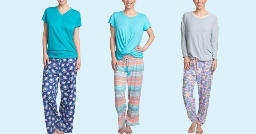 women wearing Muk Luk printed pajama sets with blue background
