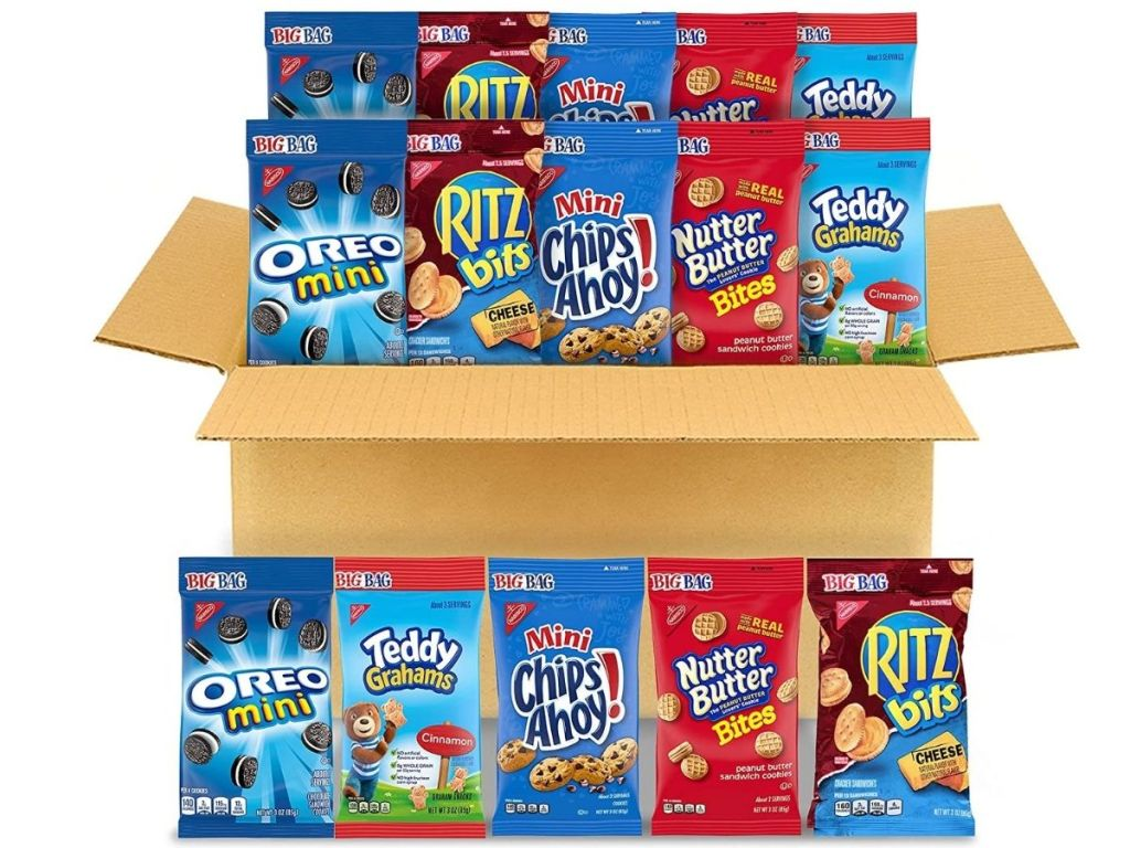 box filled with nabisco snacks