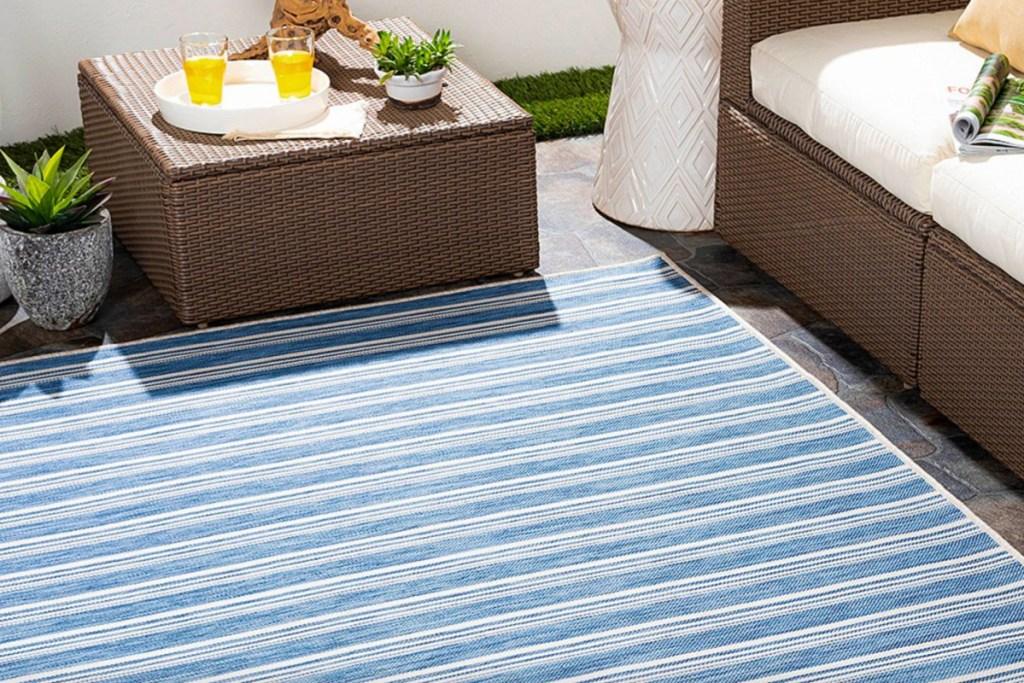 nautical blue stripe rug