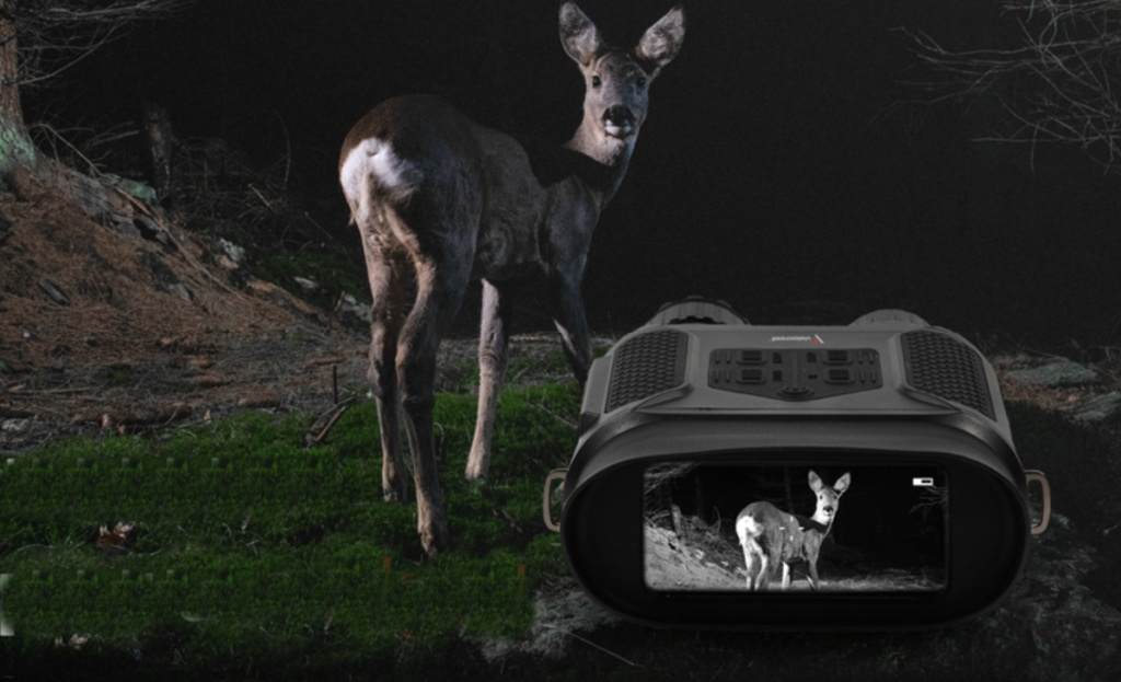 night goggles showing deer on screen