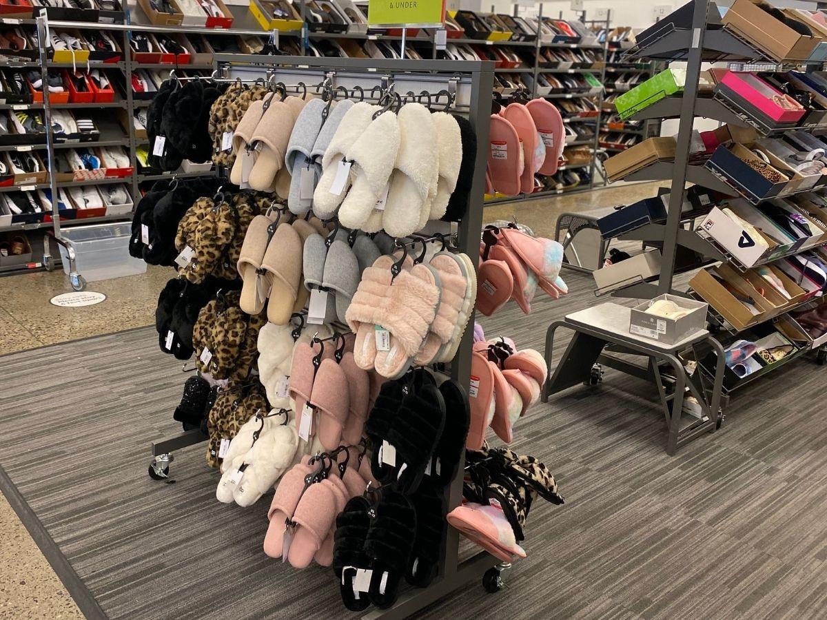 rack of women's slippers
