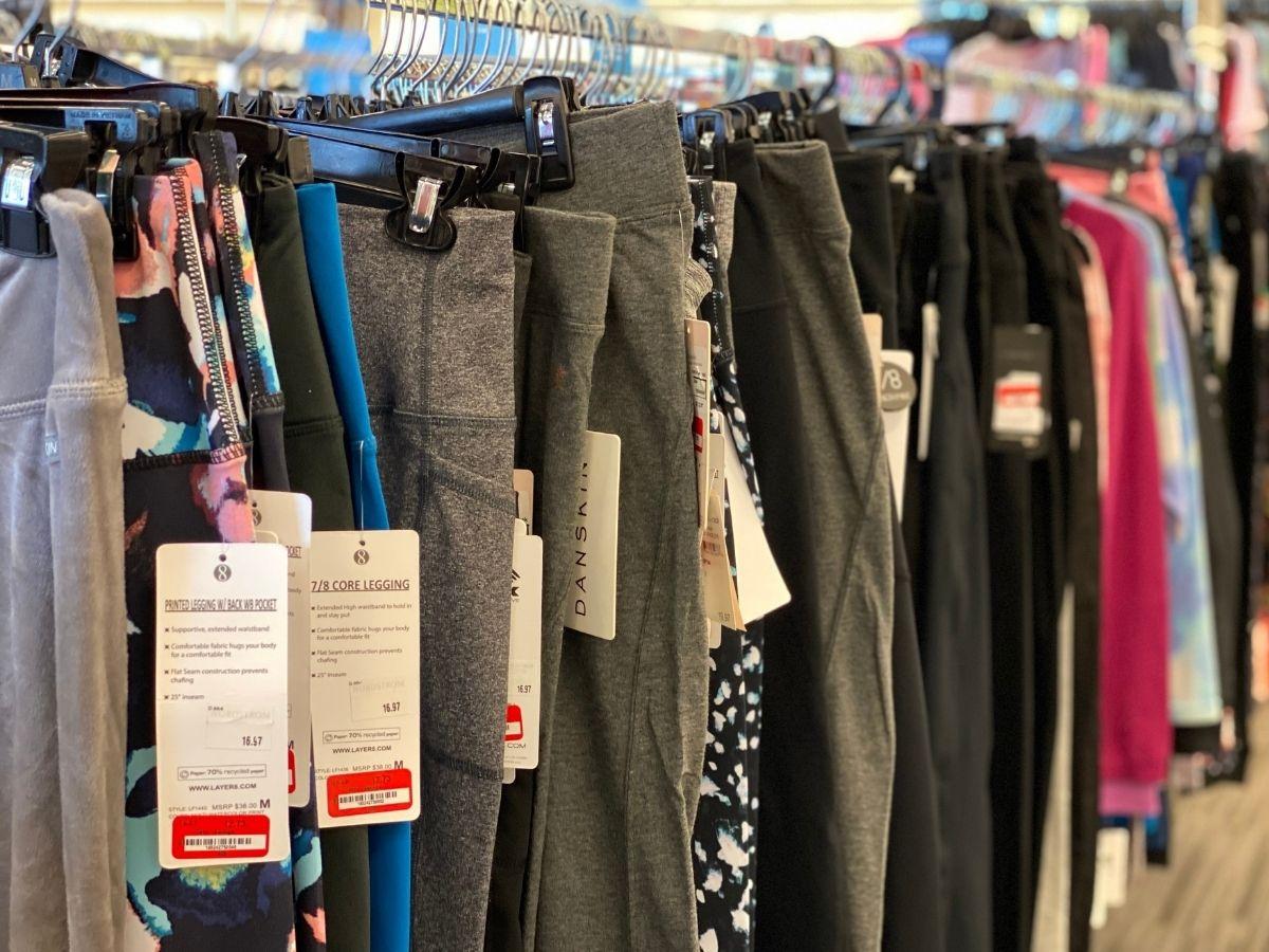 rack of workout pants