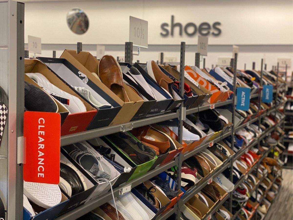 clearance rack of men's shoes