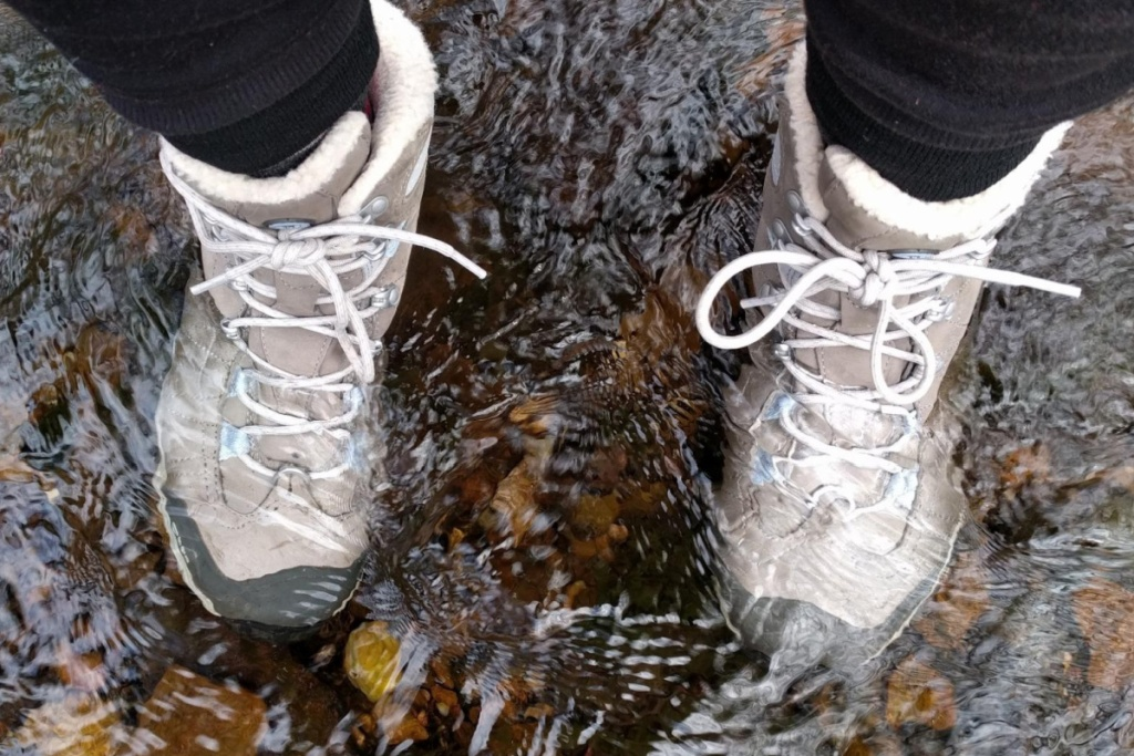 oboz hiking boots submerged in water