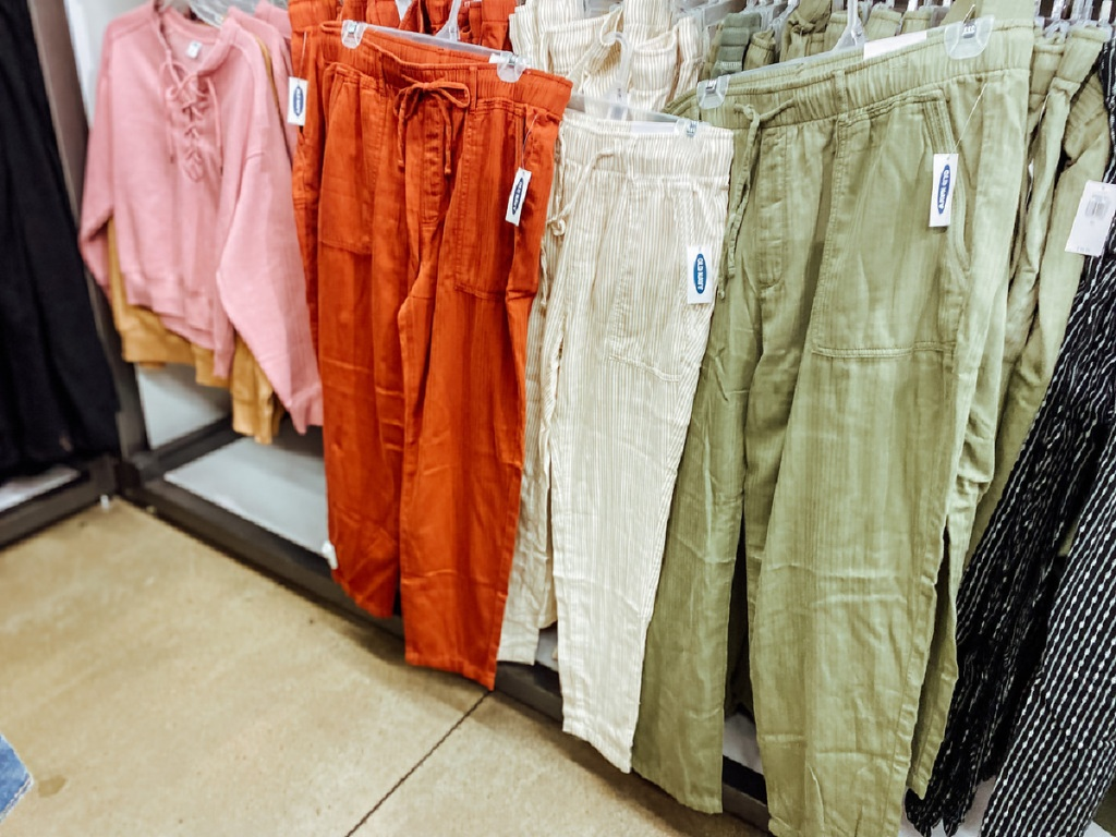 old navy women's twill pants hanging in store