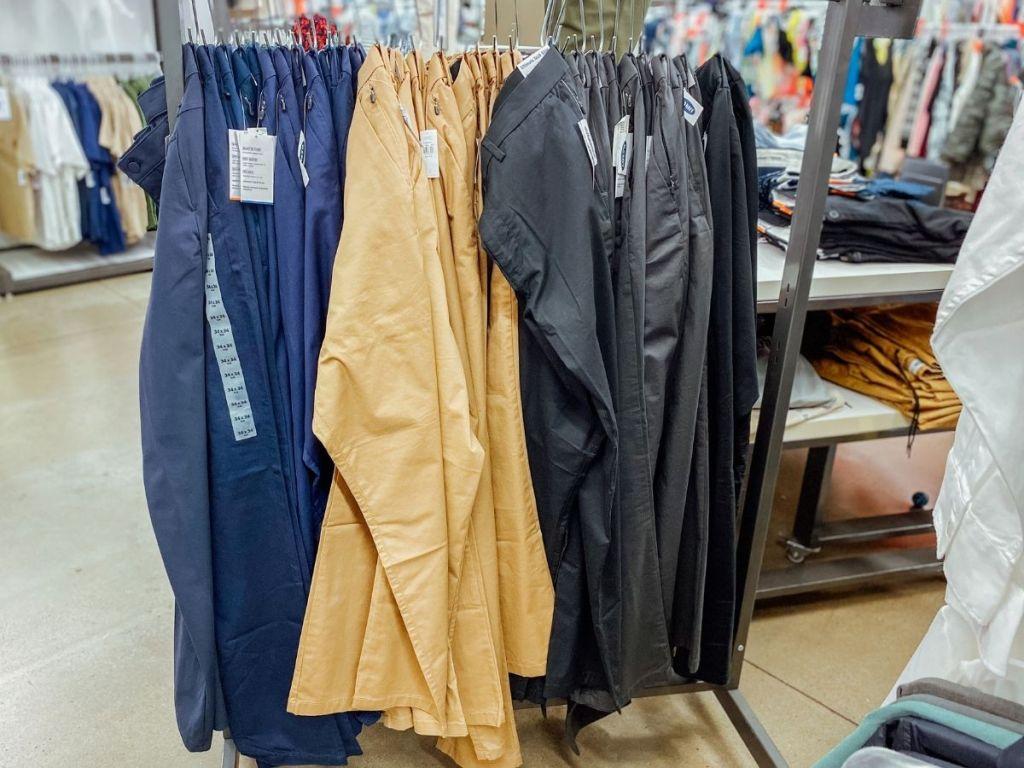 men's old navy pants hanging in store