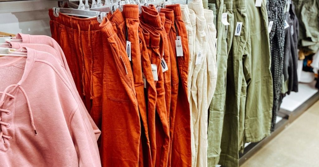 colorful old navy women's twill pants hanging in store