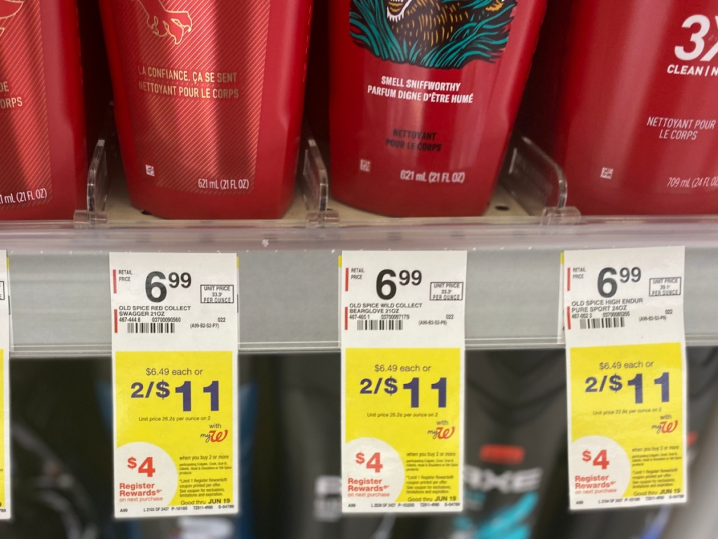 store shelf showing tag prices by men's body wash