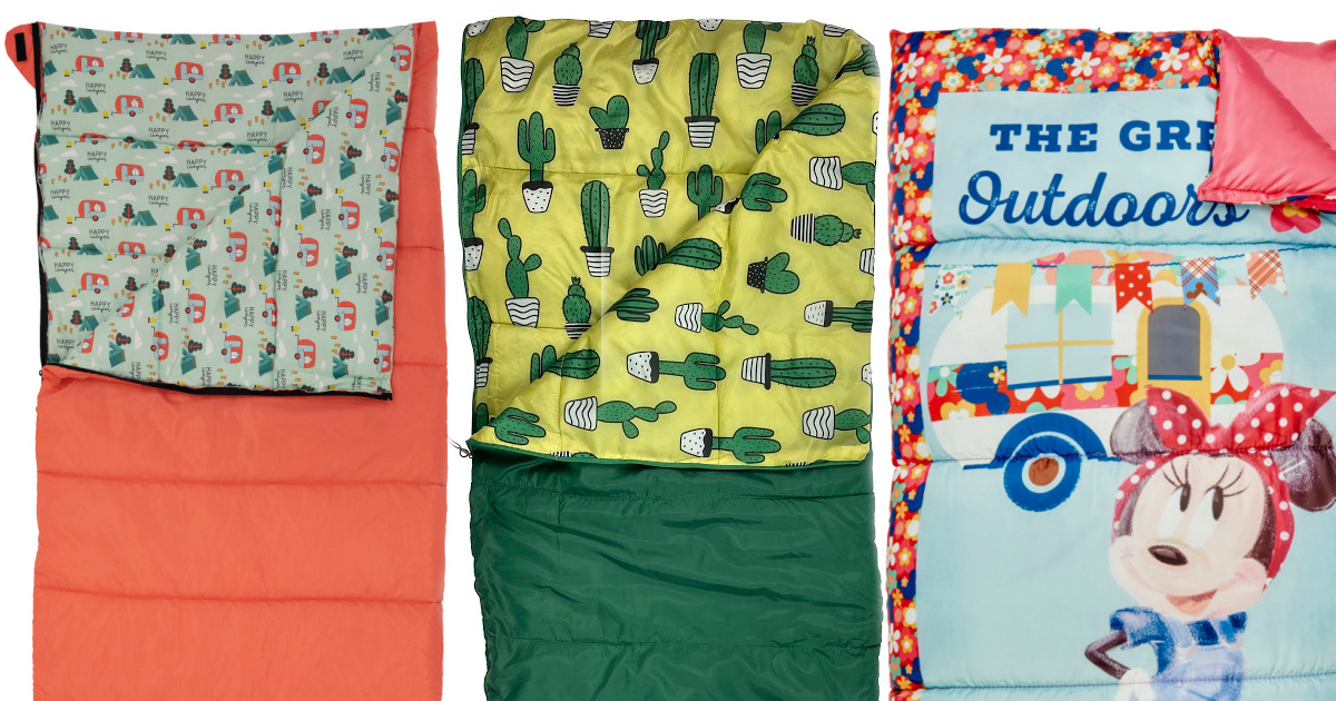 three stock images of sleeping bags