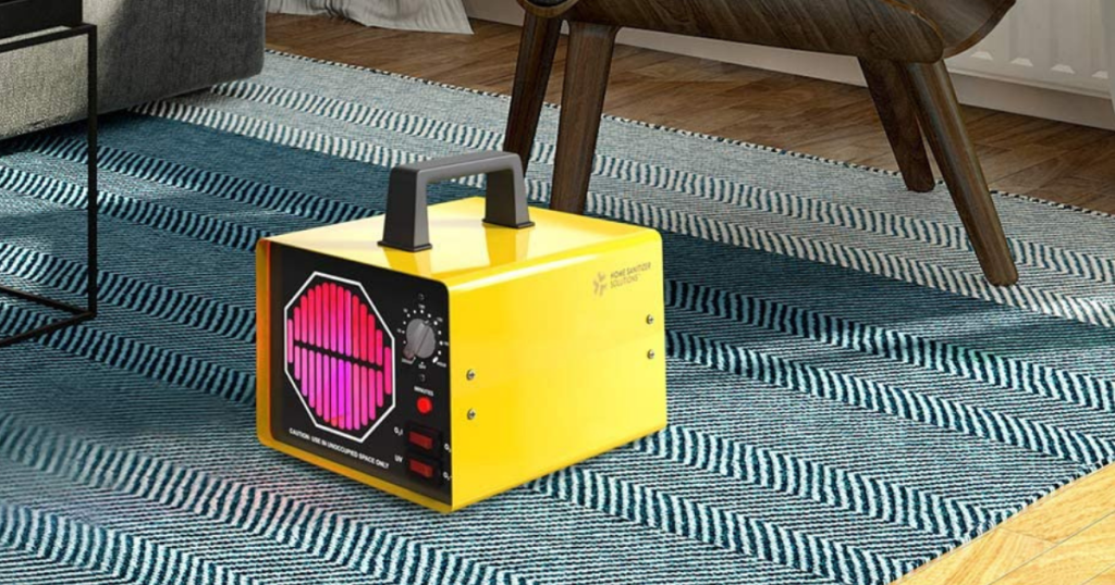 yellow air cleaning and sanitizing generator on blue carpet