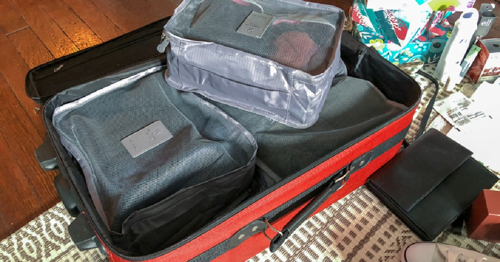 packing cubes in suitcase