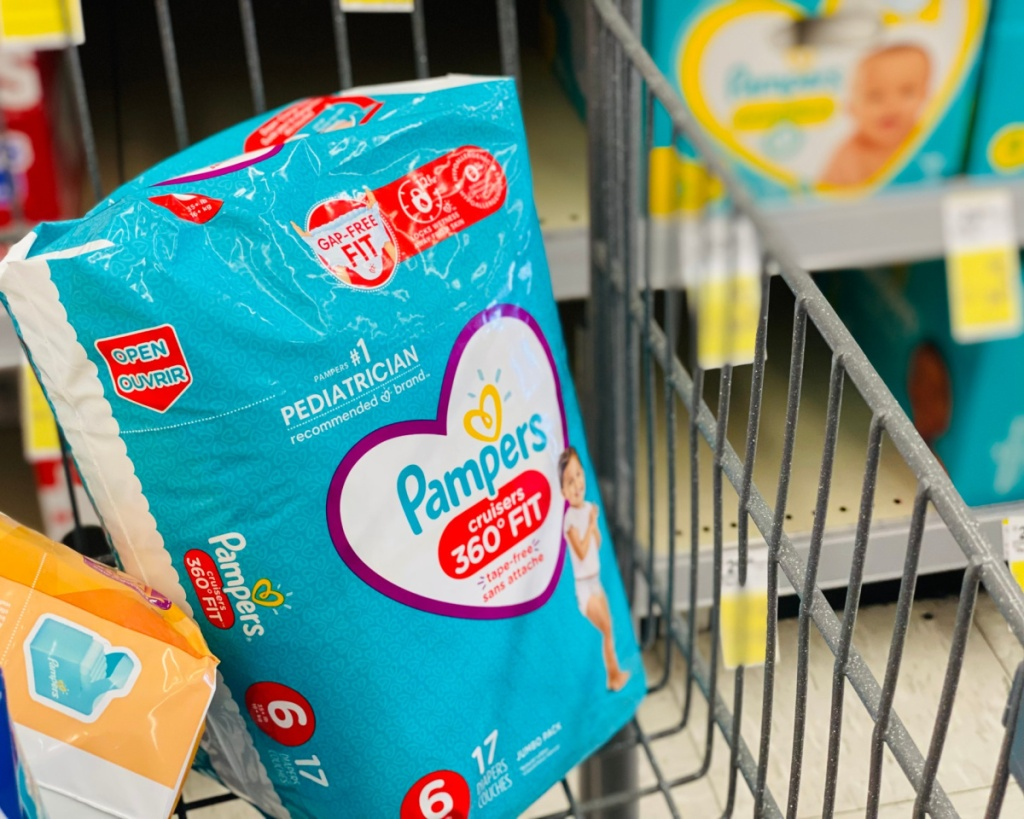 pampers in cart