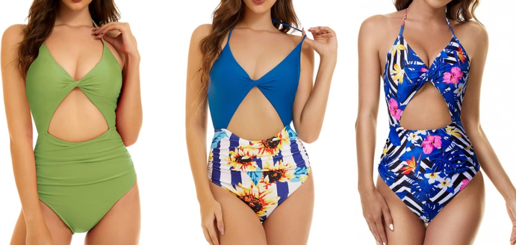 woman wearing triangle cut-out swimsuits
