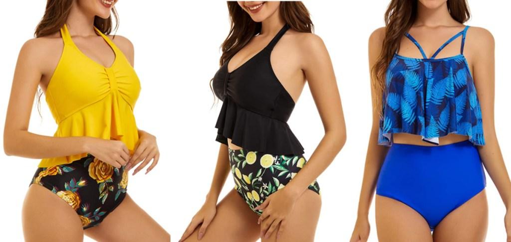 women wearing tankini swimsuits