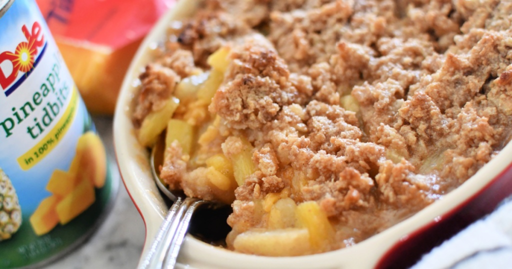 pineapple casserole in a dish after baking