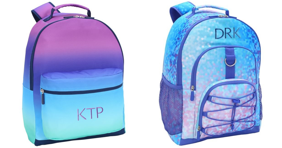stock images of blue and purple backpacks